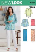 6292 New Look Pattern: Misses' Tunic or Top and Pull-on Trousers